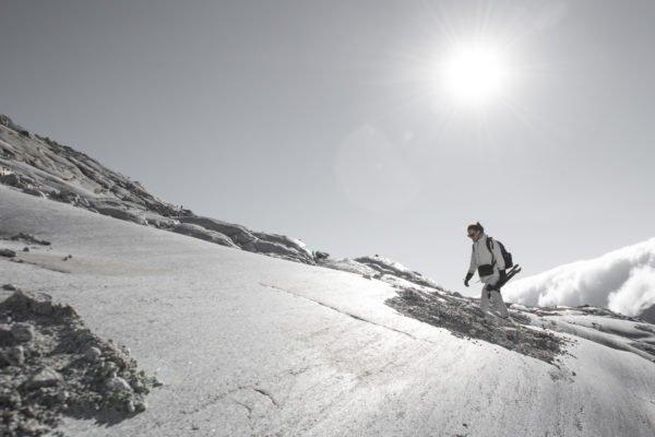 Noemie on location near Glacier du Rhône. Photo by Vincent Levrat (ECAL)