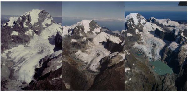 Comparative images of Donne Glacier, New Zealand, from left to right, 1981, 1998, 2009. Source: Trevor Chinn