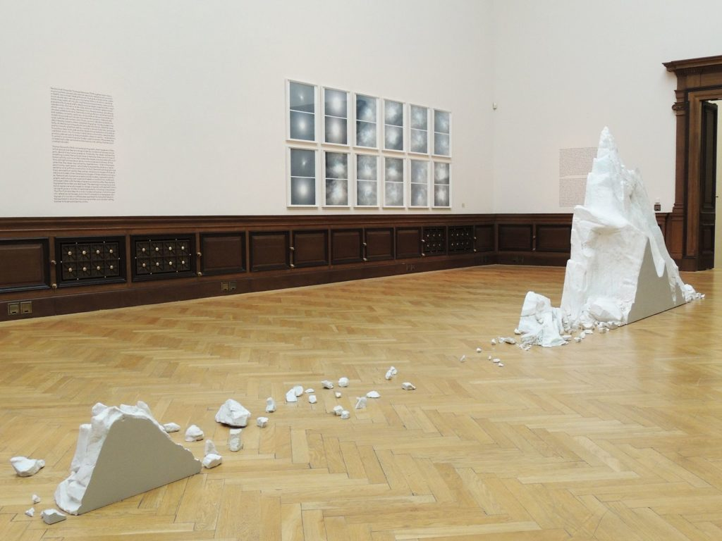 An installation view of There Is Always Something More Important and Recent Futures from the group show MODEL at Rudolfinum, Prague.