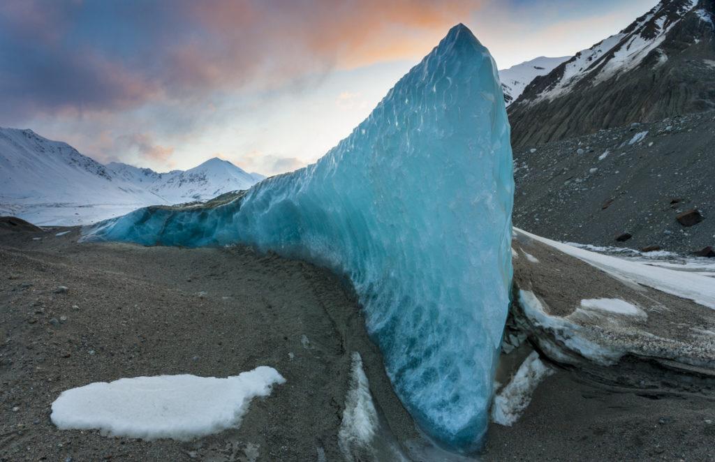 Exposed ice fin, Black Rapids Glacier, Eastern Alaska Range, Alaska